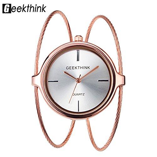 (VGEBY Women Bangle Watch Double Ring Open Bangle Strap Analog Quartz Wrist Watch(Rose Gold))