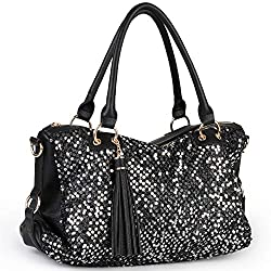 Sequin PU Leather Shoulder Bag for Women