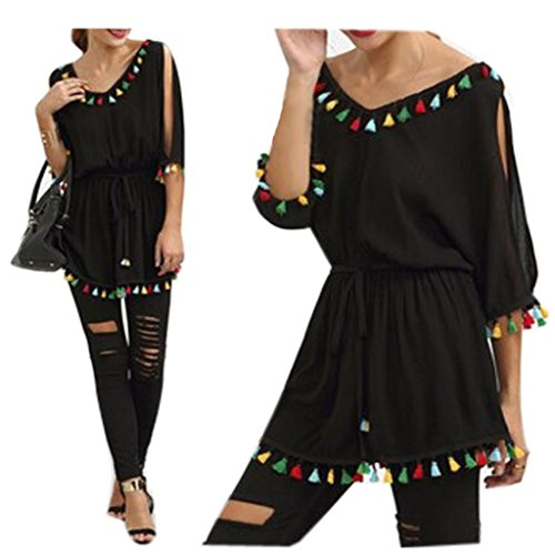 AMA(TM) Women Casual Tassel Half Sleeve Short Party Beach Mini Dress (Large, Black) (Sexy Mexican Woman)