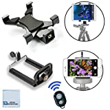 (US) Universal Tablet Tripod Mount + Universal Smartphone Mount + Bluetooth Remote for All iPhone and iPad Devices with eCostconnection Microfiber Cloth