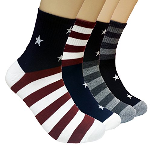 JJMax Mens USA American Flag Cotton Blend Crew Socks One Size Fits All