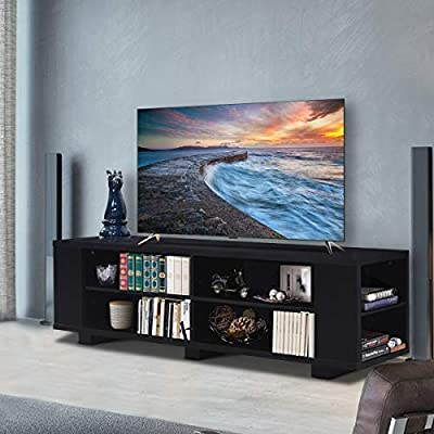 """Tangkula TV Stand Modern Wood Storage Console Entertainment Center for TV up to 59"""", Home Living Room Furniture with 8 Open Storage Shelves"""