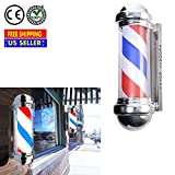 Produit Royal Hair Salon Barbershop Sign Pole Rotating Red White Blue Stripe Spinning LED Light with On/Off Switch| 30 Inch Heavy Duty Professional Wall Mount Classic Cylinder Waterproof Safe Energy