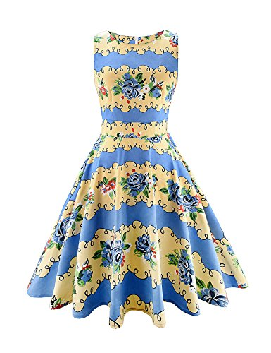 Cocktail Party Dress Picnic 02 Blue Floral Vintage Classy Sleeveless yellow Party ARANEE Tq0O7n