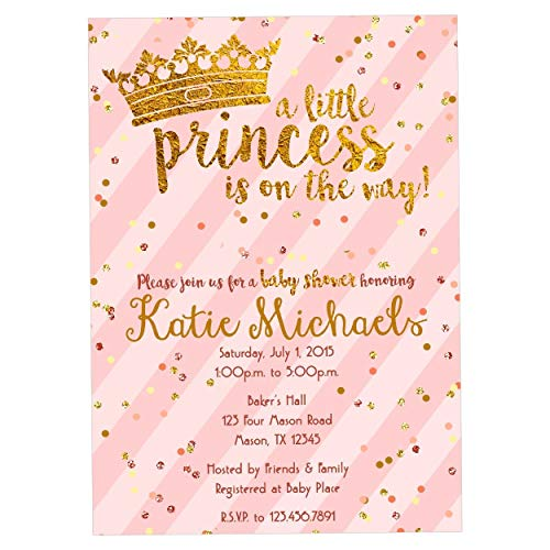 (Pink Gold Princess Baby Shower Invitations Girl Crown)