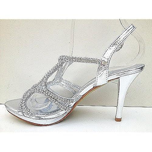 66e709de2016d2 Sandale talon aiguille escarpins soirée strass mariage femme chaussures  3003-26 ARGENT best