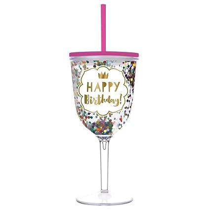 birthday wine glass happy birthday double wall acrylic wine glass with lid and straw - Happy Birthday Wine Glass