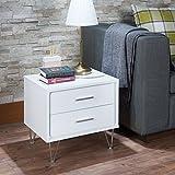 Benzara BM154628 Contemporary 2 Drawers Wood Nightstand by Deoss, White