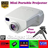 Gadget Hero's™ UC33+ Mini HD Multimedia LED Projector. White. With FREE Nano Tripod Worth Rs. 400/-