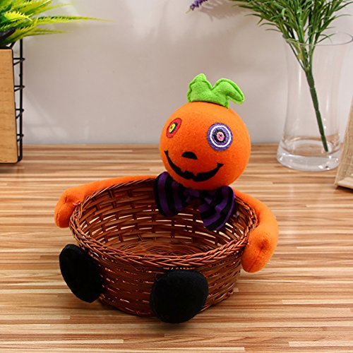 Candy Compote - FairOnly Kids Candy Bag Rattan Basket Bucket Pumpkin Artificial Plush Dolls Trim Compote Halloween Holiday Party Decor