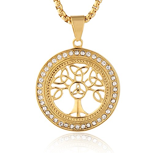 - HZMAN 18k Gold Plated Cz Inlay Tree of life Stainless Steel Pendant Necklace Success and Protection Lucky (Celtic knot)