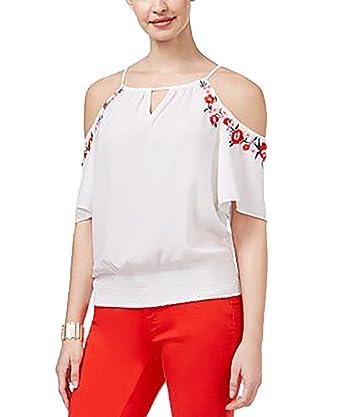 0f43c0f7445339 Thalia Sodi Embroidered Cold-Shoulder Top (Bright White