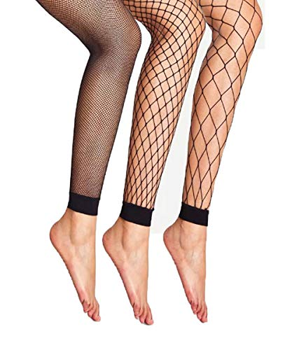 Abberrki Womens High Waist Fishnet Footless Tights Spandex Pantyhose Stockings(3 pairs) -