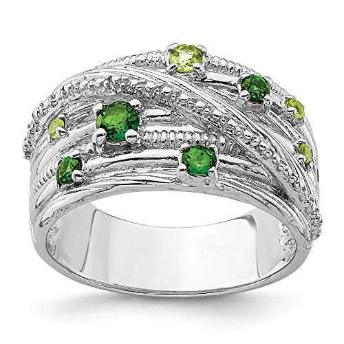 Mia Diamonds Solid 925 Sterling Silver Rhodium-Plated Chrome Diopside and Peridot Ring Size - 8
