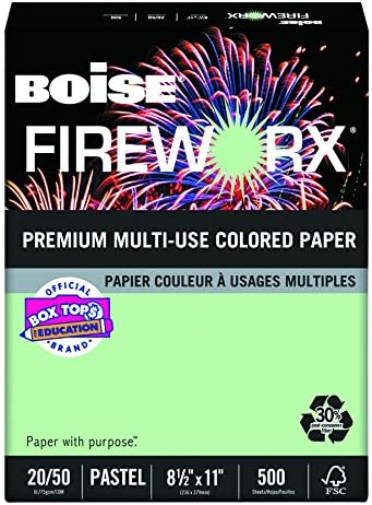 Boise Fireworx Color Copy/Laser Paper, 20 lb, Letter Size (8.5 x 11), Popper-Mint Green, 500 Sheets (MP2201-GN)