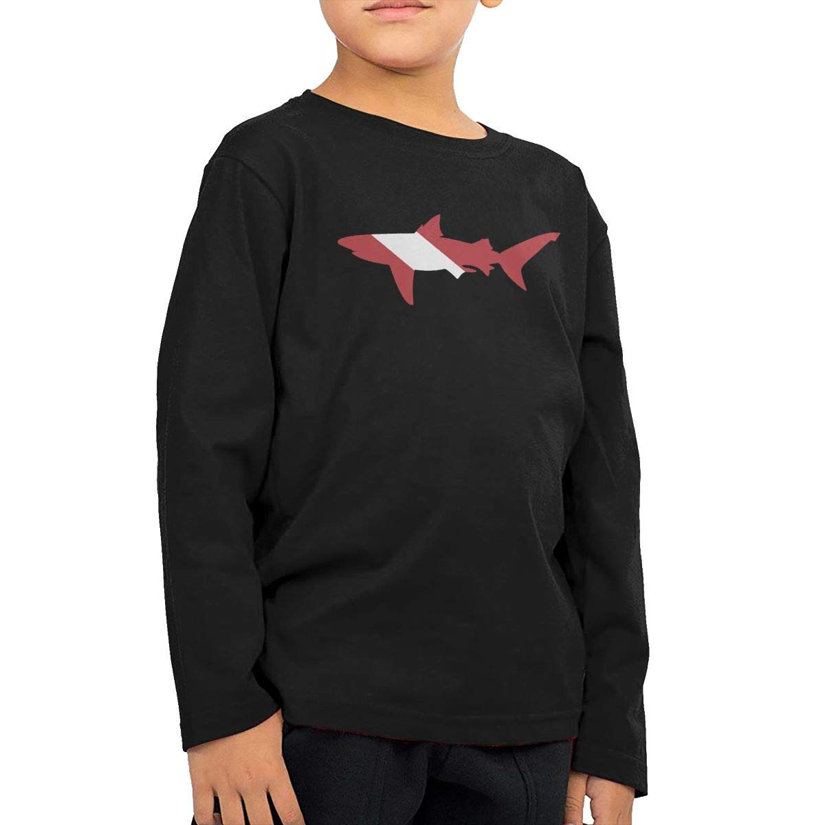 Toddler Childrens Shark Scuba Diving Flag Printed Long Sleeve 100/% Cotton Infants Tops
