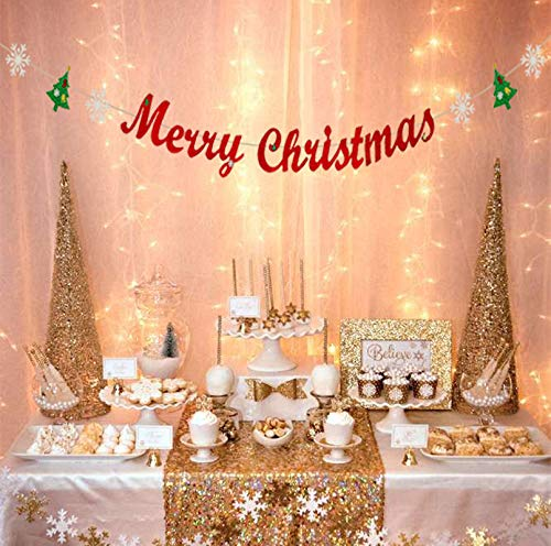 - Merry Christmas Banner with Glitter Christmas Tree Snowflake Garland Party Decorations for Xmas Holiday Home Indoor Fireplace Decors