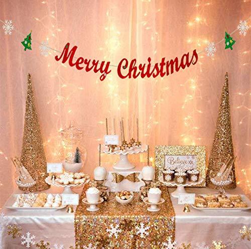Merry Christmas Glitter Banner - Merry Christmas Banner with Glitter Christmas