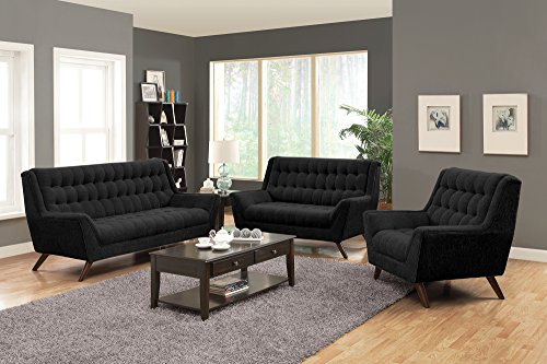 Coaster Natalia Contemporary Love Seat with Exposed Wood Legs, Black