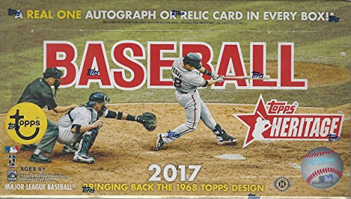 2017 Topps Heritage Baseball Hobby Box -24 Packs of 9 Cards: 1 Autograph or Relic, 7 Inserts, 1 Box ()