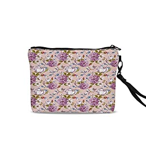 """Watercolor Travel Toiletry Bag,Vintage Flowers Peony Rose Narcissus Blossoms Romantic Valentine`s Day Theme Decorative For Women Girl,9""""L x 1.5""""W x 6.2""""H 108"""