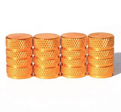 Barrel Style Tire Valve Stem Caps - Universal, Schrader - Set of Four - Gold Barrel Yellow