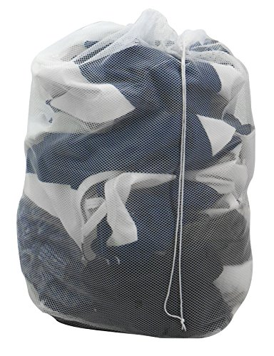 Sorbus Mesh Laundry Bag  Portable, Foldable for Storage, Fits Inside Hamper  Great for Laundry Room, Bedroom, Bathroom, Closet, College Dorm (Bag, White)