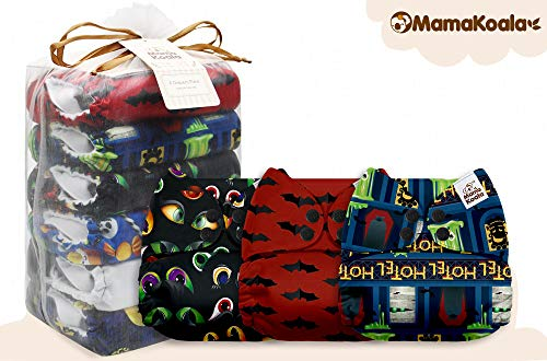 Mama Koala One Size Baby Washable Reusable Pocket Cloth Diapers, 6 Pack with 6 One Size Microfiber Inserts (Halloween Night)