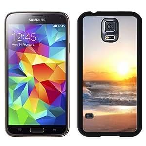 NEW Unique Custom Designed Samsung Galaxy S5 I9600 G900a G900v G900p G900t G900w Phone Case With Rough Sea Beach Shining Sun_Black Phone Case