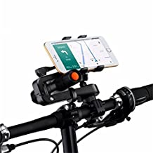 Bike Mount Bicycle Handlebar Phone Holder 360 Degrees Rotatable Universal Smartphone Cradle Clamp adjustable Bracket with Silicone You can install Flashlight GPS (Black)