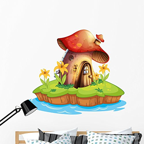 (Wallmonkeys Mushroom House Wall Decal Peel and Stick Decals for Girls (48 in W x 42 in H) WM301915)