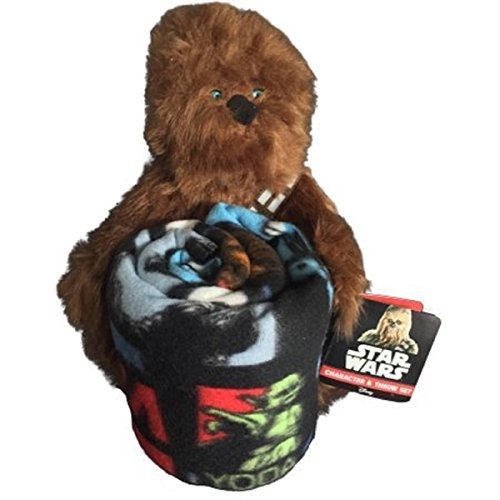 Star Wars Chewbacca Plush Figurine Doll and Blanket Throw Gift Set