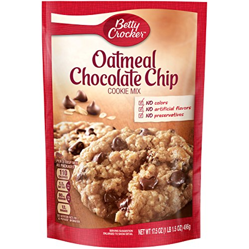Betty Crocker Baking Mix, Oatmeal Chocolate Chip Cookie Mix, 17.5 Oz Pouch (Icing Chocolate Mix)