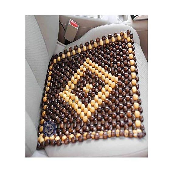 OnWheel FurnishMyAuto Car Bead Seat Wooden Acupressure Sitting Cushion Cover Pad (Beige)
