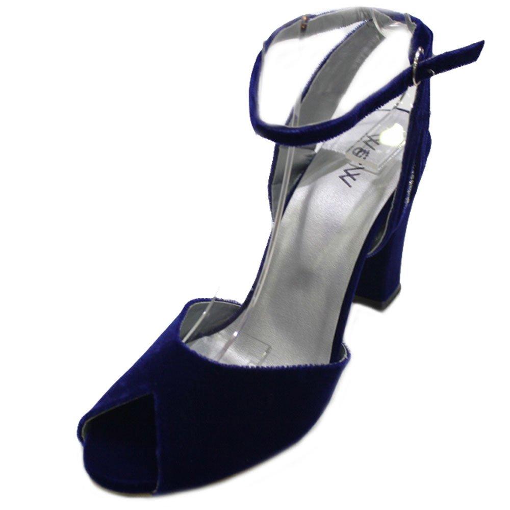 W Mariage & femmes W femmes talon Mesdames Soirée Mariage Confort en velours Peep Toe chaussures sandale talon bloc Taille (Nisha) Bleu Marine da2e1f6 - epictionpvp.space