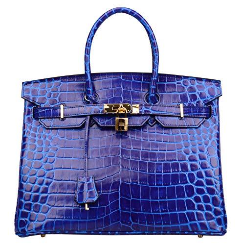 Qidell Women's Padlock Patent Leather Crocodile Embossed Handbag On Clearance (35 cm, Electric blue)