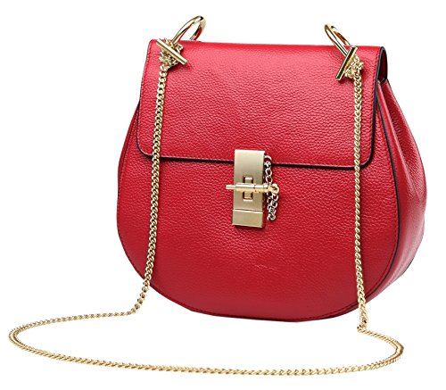 Leather Designer Genuine Womens Shoulder Body Cross Big Red Ladies Bags Saierlong Black pBfwUX