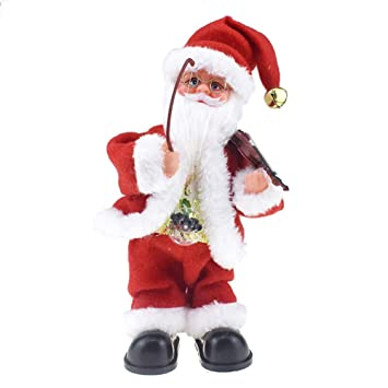 FidgetGear Electric Dancing Singing Doll Plush Christmas Dolls,Belly with Lamp Playing The Violin and Rocking Santa Claus Doll with Music Electric Toys Gift