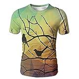 Edgar John Birds On Branch with Geometrical Abstract Rainbow Colored Sharp Lined Men's Short Sleeve Tshirt XXL