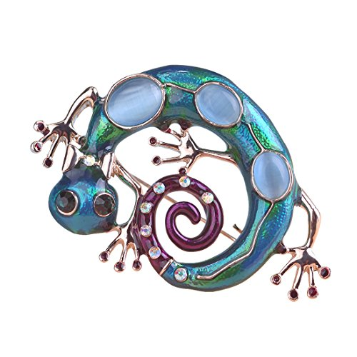 MECHOSEN Lizard Reptile Brooch Pins Enamel Craft with Blue Opals ()