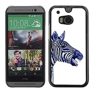 Be Good Phone Accessory // Dura Cáscara cubierta Protectora Caso Carcasa Funda de Protección para HTC One M8 // Stripes Black White Blue Animal Africa