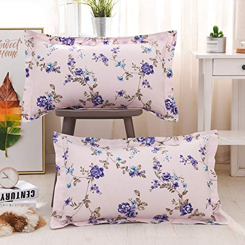 Floral Pillow Sham - TEALP Floral Pillow Cases Vintage Bedding Pillow Shams Decorative Standard Size Purple and Pink Violet Flower with Leaves Printed Pillow Covers Set of 2 100% Cotton Premium Hypoallergenic Breathable