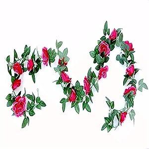 SMYLLS 6PCS(48 FT) Artificial Rose Vines Fake Silk Flowers Rose Garlands Hanging Rose Ivy Plants for Wedding Home Office Arch Arrangement Decoration (Multicolor) 2