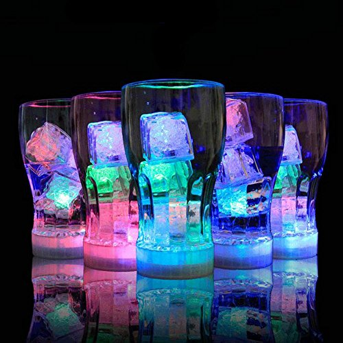 NHSUNRAY Submersible Decorative Color Changing LED Ice Cubes-12 Pack Multi-color Flash Light Up Drinking Wine Wedding Party (Dry Ice Cubes)