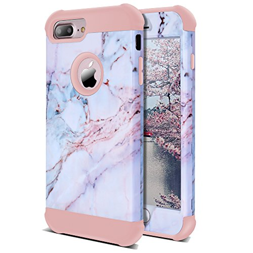 AOKER iPhone 7 Plus Case, iPhone 8 Plus Case, [Marble Design] Three Layer Shockproof Anti-Scratch Full-Body Protective Armor Defender Protective Case Cove for Apple iPhone 7 Plus/8 Plus (Pink)