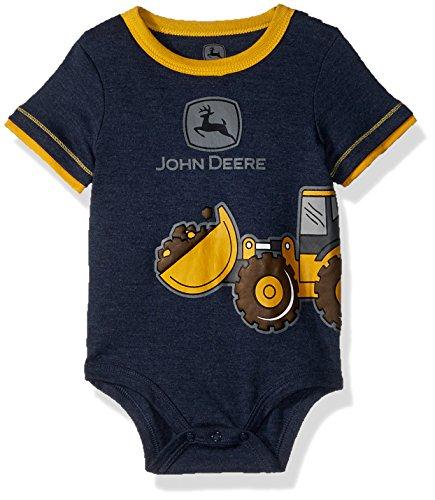 John Deere Baby Boys Bodysuit, Navy Heather, 9-12 Months