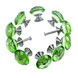 Green Kitchen Cabinets Crystal Cabinet Knobs Yazer 30mm 10 Pack Universal Crystal Drawer Handles Fashion Handles for Cupboard,Wardrobe,Kitchen,Door,Cabinet and More (Green)