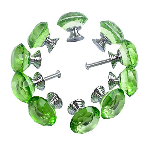 Drawer Armoire Base (Crystal Cabinet Knobs Yazer 30mm 10 Pack Universal Crystal Drawer Handles Fashion Handles for Cupboard,Wardrobe,Kitchen,Door,Cabinet and More (Green))