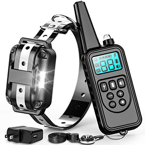 Airedale Dog Charm - F-color Dog Training Collar, 865 Yards Reflective Strap Shock Collar for Dogs with Remote for Small Medium Large Dogs Breed with Light Beep Vibration Shock 4 Modes, Waterproof Dog Shock Collar, Black