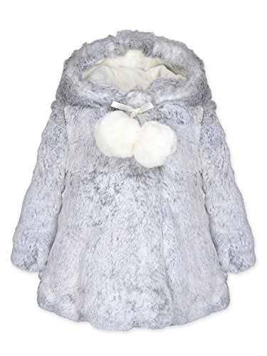 Glam Girl Coat (Widgeon Toddler Girls' Hooded a-Line Faux Fur Coat with Pompom 3706, Glam/Glacier Mist, 2T)